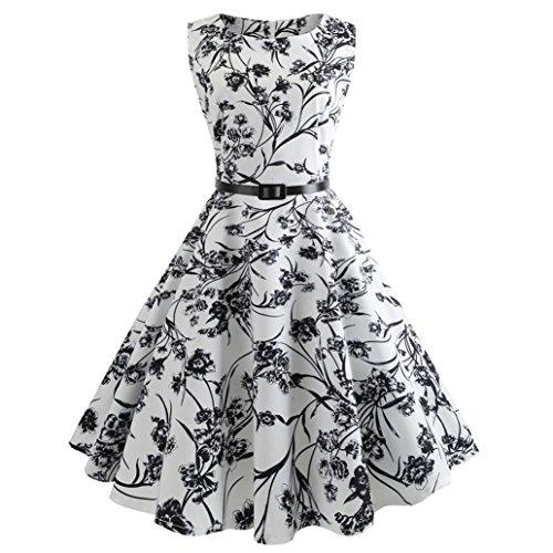 ode Sommer Frauen Vintage Drucken Schlank Bodycon Ärmellose Abend Partei Prom Schwingen Kleid(A-b-Weiß,EU-42/CN-L) (80 Prom Kostüme Männer)