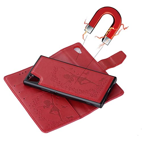 Abnehmbare 2 in 1 Crazy Horse Texture PU Ledertasche, Fairy Girl Embossed Pattern Flip Stand Case Tasche mit Lanyard & Card Cash Slots für Sony Xperia XA1 ( Color : Rosegold ) Red