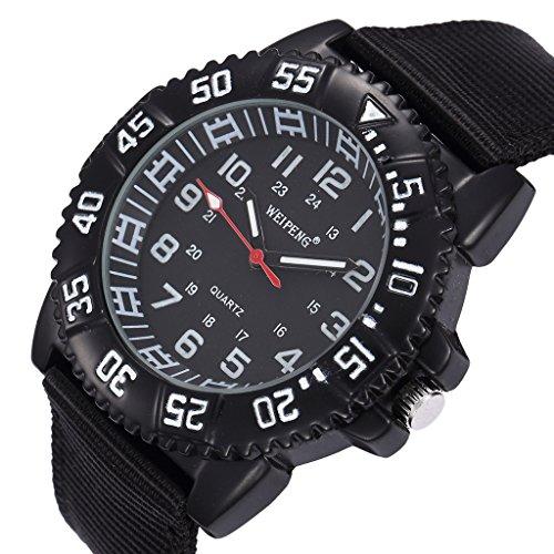Unendlich U Fashion Schwarz Nylon Gurt Quarzarmbanduhr Unisex Wasserdicht Armbanduhr für Reise/Geburtstag Weihnachten Geschenk