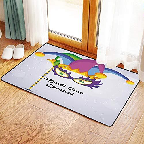 Kostüm Clown Kuschelig - Yaoni Rutschfester Badvorleger, Karneval, Karneval Karneval Inschrift mit traditionellen Party-Ikonen Clown Kostüm Hut,Mikrofaser Duschvorleger Teppich für Badezimmer Küche Wohnzimmer 60x100 cm