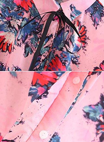 Futurino Damen Blumendruck Hohe Niedrige Nacken-Bindung Knopf-Unten Blusen Rosa