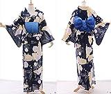 Kawaii-Story K-012 Blau gelb Glitzer Schmetterling Rosen Blumen ORIGINAL traditionell Japan Damen Kimono YUKATA OBI Gürtel Baumwolle