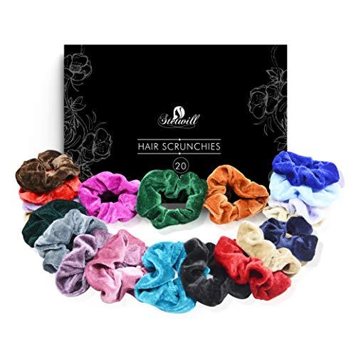 Elastici per capelli in velluto | scrunchies vsco girl | confezione da 20 pezzi | braccialetti colorati per donne e bambine |