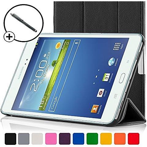 ForeFront Cases®–Case con soporte funda de piel sintética para Samsung Galaxy Tab 38.08GB 3G + WiFi–con Magnético Auto de función de reposo–Incluyen lápiz negro negro Galaxy Tab 3