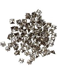 SODIAL(R) 100X Apliques Remaches Plata 8mm Piramide Tachuelas Bolsa/Calzado/Guante