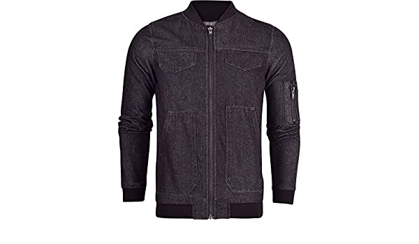 7d06de93 52_DNM Mens Denim Jacket MA1 Bomber Harrington Stonewash Style Jean Fashion  Collar Coat Small Denim Black: Amazon.co.uk: Clothing