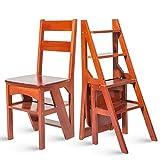 WCS Haushalts-Multifunktionsleiter Hocker Massivholz IKEA Kinder Klappstuhl Vier-Stufen-Steigleiter mit doppeltem Verwendungszweck 38 × 39 × 60 cm (Color : Wine red color)