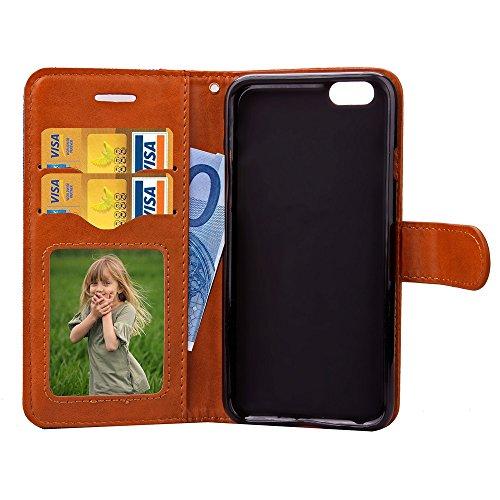 iPhone Case Cover IPhone 6S Plus Housse, Luxe Mode Jeans PU Cuir Housse Housse Flip Housse Housse Avec Card Cash Slots Mixte Housse Couleur Pour iPhone 6S Plus 5.5 Pouces ( Color : Gray , Size : Iphon Gray