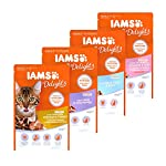 IAMS Delights Wet Food Land and Sea Collection for Adult Cats with Meat and Fish in Jelly, 12 x 85 g 12