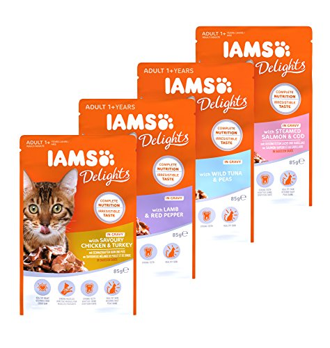 IAMS Delights Wet Food Land and Sea Collection for Adult Cats with Meat and Fish in Jelly, 12 x 85 g 5