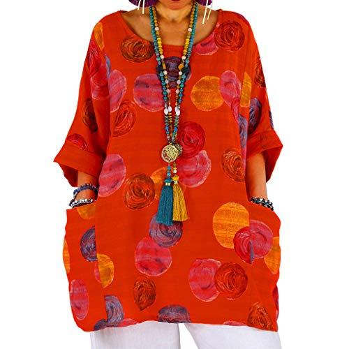 YOcolour Damen Vintage Böhmen Drucken Pullover Dreiviertel-Ärmel Beiläufige Baumwolle Leinen Casual Rundhalsausschnitt Frauen Tops Lässiges Bequem Shirt Oberseiten(Orange,M)