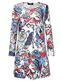 LQUYY Frauen Halloween Kürbis Kleid Langarm-Lose Schaukel Casual Midi Kleid Print Aline Kleid,06,XL