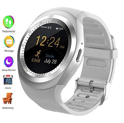 linyingdian Reloj Inteligente con podómetro de Pantalla táctil con Ranura para Tarjeta SIM, Adecuado para mijo/Huawei/Samsung Hombres y Mujeres Pulsera de Actividad Inteligente para teléfonos(Blanco)