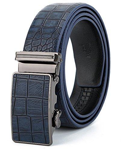 ITIEZY Ratchet Belt Automatic Belt Men Crocodile Skin Pattern Brown Black Blue (Fashion Style)