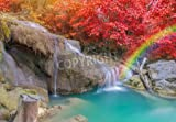 Leinwand-Bild 30 x 20 cm:landscape of Wonderful Waterfall in Deep forest at Erawan waterfall National Park, Kanjanaburi Thailand., Bild auf Leinwand