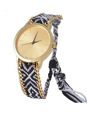 Souarts Schwarz Geflochten Damen Armbanduhr Seil Band Uhr Hipster Analog Quarz Einstellbar Damenuhr