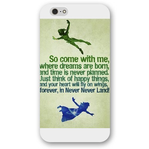 Customized White Cartoon Disney Peter Pan Case Cover for iPod Touch 4Case, Only Fit iPhone 5/5S