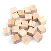 Akozon Wooden Blocks Craft Natural Square Wooden Blocks Wood Cubes for DIY Crafts Handmade Woodcrafts Kids Toy Home Decor