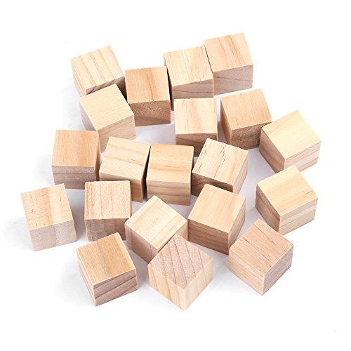 Holz Würfel, Natürliche Unvollendete Holzblöcke Handwerk, Kleine Holz Quadratische Blöcke, DIY Handwerk Platz Holzblöcke für Puzzle machen, Kunsthandwerk, und DIY-Projekte(20mm (20 pcs))