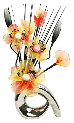 Flourish 793166 Mini-Vase mit geschwungenem Design, mit Arrangement aus Kunstblumen, Gesamthöhe: 32 cm Silver/Orange & Yellow