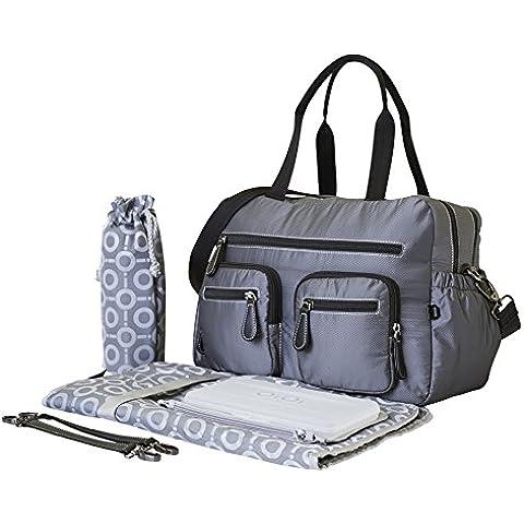 OiOi-Borsa fasciatoio portatutto a quadretti, colore: grigio