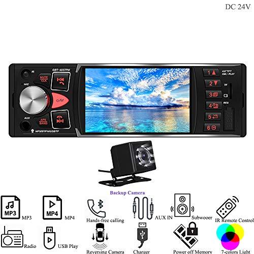 Hi-azul Autoradio, 1 Din In-Dash Car Stereo DC 12V/24V Car Radio AUX Audio Player mit 4 Zoll HD TFT Bildschirm Unterstützen Bluetooth, FM, USB/SD, Rückfahrkamera Verbindung (24V mit Rückfahrkamera) -