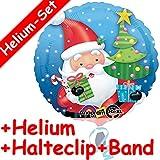 Folienballon * WEIHNACHTSMANN * + HELIUM FÜLLUNG + HALTER // Frohe Weihnachten Ballon Deko Christbaum Weihnachtsbaum Tannenbaum Kugeln Schnee Weihnachten