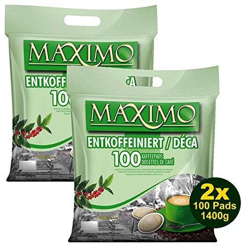 MAXIMO ENTKOFFEINIERT Kaffeepads 2x 100 Pads 700g (1400g) - Aromatisch, Entkoffeiniert