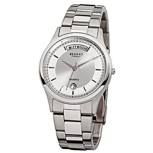 Regent Hombre de Acero Reloj de pulsera elegante analógico de pulsera plata reloj de cuarzo urf646