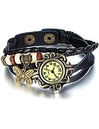 Jewelrywe Joyas retro pulsera de cuero de las mujeres, reloj de pulsera hermosa, Pulsera Látex Diseño ajustable con mariposa (Negro)
