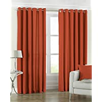 """Riva Paoletti Fiji Ringtop Eyelet Curtains (Pair) - Burnt Orange - Faux Silk - Ready Made - Semi Sheer - 100% Polyester -229cm width x 229cm drop (90"""" x 90"""" inches) - Made by"""