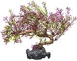 sourcing map Lila Kunststoff Terrarium Blätter Pflanze Unterwasser Ornament Landschaft für Reptilien DE