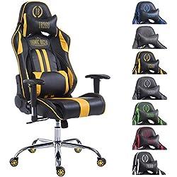 CLP Silla de oficina Racing LIMIT XL de cuero sintético, silla gaming, tapizado de cuero sintético. peso máximo: 150kg negro/amarillo, sin reposapiés