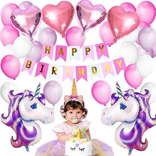 Dekoration Ballons Happy Birthday Party Supplies Wimpel Banner Seidenpapier Pom Rosa Blumen Garland für Mädchen Kinder Kind (Schöne Rosa Lila Thema) ()