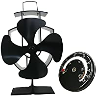 Lincsfire Silent Operation 4-Blade Stove Fan with Thermometer - Heat Powered Wood Log Burning Stove Fan Eco Friendly Heating