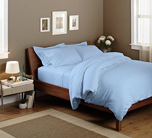 Bettwäsche-Set (1 Reißverschluss-Bettbezug und 2 Kissenbezüge), aus ägyptischer Baumwolle, Fadendichte 1000, feinste Qualität, langlebig, Satin-Oberfläche, bequem, 3-teilig, 100 % Baumwolle, Light Blue Solid, UK King