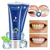 Bambus Minz Zahnpasta Für Nacht Reinigung- Ohne Fluorid - Für Weiße Zähne - Minzgeschmack - Natürliche Zahnaufhellung - Activated Charcoal Toothpaste - Bleaching - Zahnbleaching - Teeth Whitening - Aufhellung