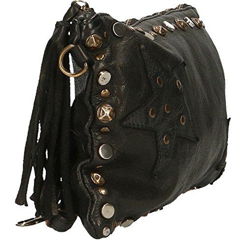 Frau Kleine Handtasche Clutch mit Schultergurt Chicca Borse Vintage in echtem Leder Made in Italy 32x20x2 Cm Schwarz