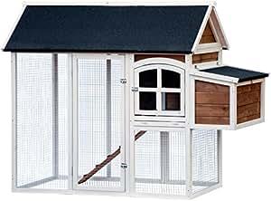 dobar 23034FSC Großer dekorativer Hühnerstall oder Kleintierstall XL mit Freigehege und 3er-Legebox, 180 x 90 x 145 cm, weiß-braun-schwarz
