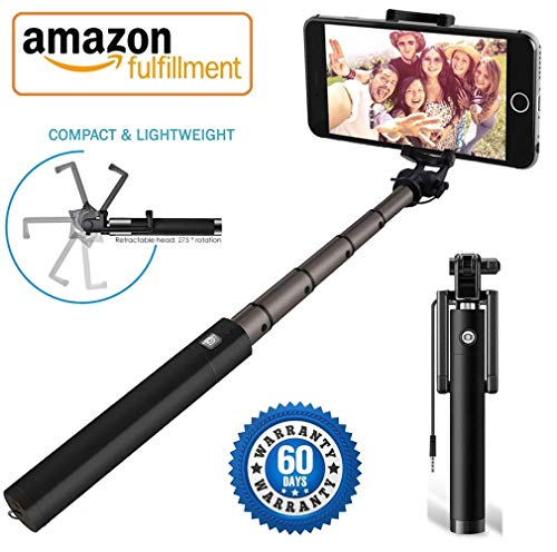YCNEX™ Compact Wired Monopod Extendable Selfie Stick with AUX Wire Built-in Remote Pocket Size Sefie Stock for All iPhone/Samsung/Oppo/Vivo/Xiaomi Redmi & All Smartphones