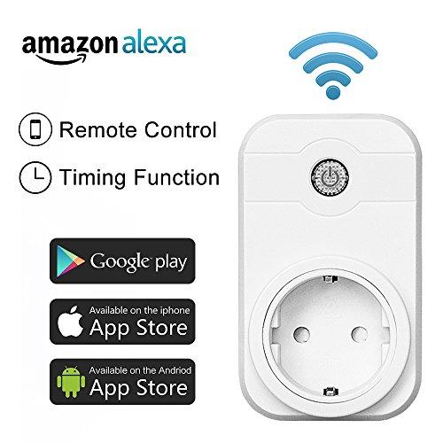 Intelligente WiFi Steckdose funktioniert mit Amazon Alexa (Echo und Echo Dot) Smartphone App Steuerung für IOS und Android für Haus und Büro Fernbedienungsschalter