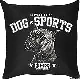 Kissenbezug mit süßem Hundemotiv - Dog Sports - Boxer - Für 40x40 cm Kissen - Geschenk - schwarz