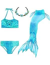 UrbanDesign Traje De Baño Disfraz Cola De Sirena Niña con Bikini para Nadar, 5-6 años, Coral Azul