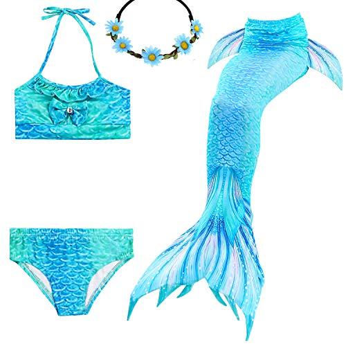 UrbanDesign Meerjungfrau Bademode Mädchen Meerjungfrau Badeanzug Schwanzflosse Zum Schwimmen Kostüm Für Kinder, 9-10 Jahre, Blaue Koralle