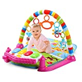 Jueven Spielzeug Baby Spielzeug Multifunktions Musik Fitness Rack Spielzeug Baby krabbeln Matte Spieldecke Baby Klaviermatte Neugeborenen Frühe Bildung Maschine Pedal Klavier (Farbe : Red)