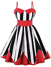 VERNASSA Women's Retro 50s Halterneck Rockabilly Party Evening Dress,Audrey Hepburn Polka Pinup Swing Dress With Floral Pattern, Multicolor,S-4XL