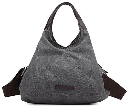 Damen Mädchen Modern Canvas Shopper Schultertasche Handtasche Henkeltasche Hobo Bag Beuteltasche Gray