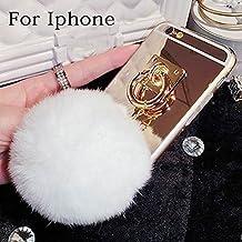 lu2000Funda para iPhone 55S Caso Apple iPhone 5S Funda de piel diseño de pelo de conejo 3d bola de pompón esponjoso teléfono móvil Perla Bling cristales diamantes Sparkle BEDAZZLED Jeweled, compatible con Apple iphone 5