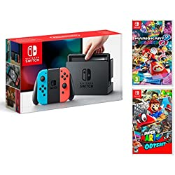 Nintendo Switch + Super Mario Odyssey + Mario Kart 8 Deluxe - Super Mario Pack