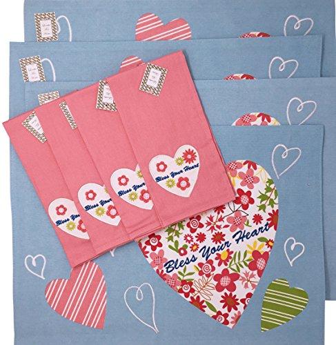 Southern Sprüche segne Ihre Herz 8-teiliges Set Platzsets und Servietten, 6721, 45,7x 33cm blau pink grün